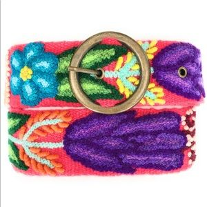 Hand Embroidered Peruvian Wool Belt. Size Large.